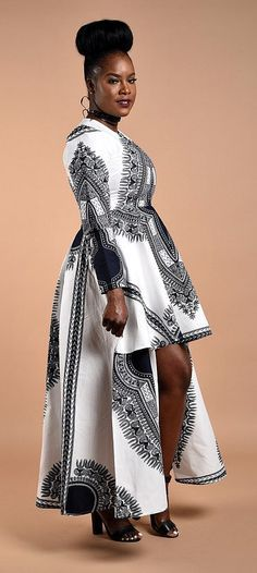 White Dashiki High -Low Dress. African print Long Sleeve dress. Glamorous High-Low design. Carefully Made to perfection.  Ankara   Dutch wax   Kente   Kitenge   Dashiki   African print dress   African fashion   African women dresses   African prints   Nig