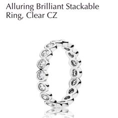 """New, never worn Pandora Ring Authentic Pandora """"Alluring Brilliant Stackable Ring, Clear CZ"""". Got as a Christmas gift and don't have the receipt to return! Pandora Jewelry Rings"""