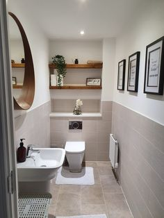 Small Downstairs Toilet, Small Toilet Room, Downstairs Bathroom, Bathroom Layout, Bathroom Wall Tiles, Bad Inspiration, Bathroom Inspiration, Bathroom Design Small, Bathroom Interior Design