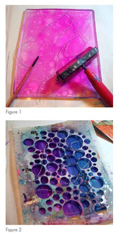 "Monoprinting is one of favorite ways to get paint and pattern on a substrate. With just a small investment in materials, you can create endless unique backgrounds, designs, and color combinations. Jodi Ohl used gelatin monoprints for these ""creative blocks."" Because every monoprint is unique, you can guarantee that your prints will have a look…"