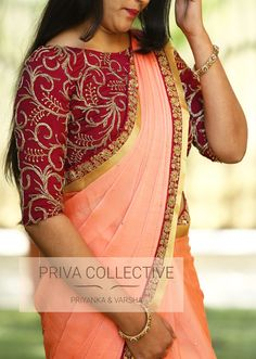 PV 3619 : Peach and Wine . <br>Price : 4400Rs. <br> Look beautiful in this peach stone studded sari with a tinge of wine coloured border and gold zari. <br> Unstitched blouse piece : Wine coloured embroidered blouse piece as displayed in the picture .For Order 24 January 2018