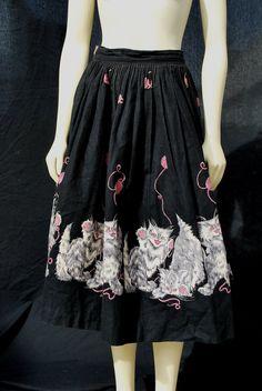 Vintage 50s novelty skirt full circle skirt. @Lisa Kiner: These cats look demonic.
