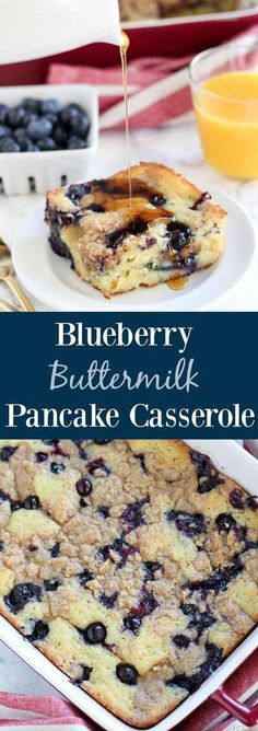"Blueberry Buttermilk Pancake Casserole - Thick and fluffy baked buttermilk pancake casserole filled with fresh blueberries and topped with a brown sugar crumble. The easiest and tastiest ""pancake"" you'll ever eat! #buttermilkpancakesrecipesugar #buttermilkpancakesrecipefood #buttermilkpancakesrecipefun"