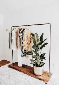 A Guide to Building a Capsule Wardrobe. | In Honor Of Design Ikea Clothes Rack, Portable Clothes Rack, Wooden Clothes Rack, Hanging Clothes Racks, Clothes Drying Racks, Hanging Racks, Clothing Racks, Boho Clothing, Clothes Rack Bedroom