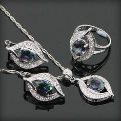 925 Sterling Silver Natural Mystic Rainbow Topaz Jewelry Sets For Women Sliver Earrings/Pendant/Necklace/Rings Free Gift Box www.bernysjewels.com #bernysjewels #jewels #jewelry #nice #bags