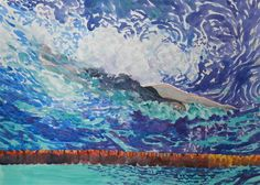 I love what happens to the water as the swimmer dives in.  Olympic Swimmer, by Jeanne Conway Illustrations