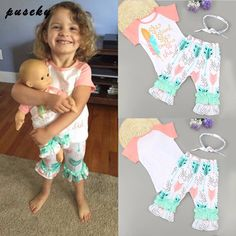 2017 New New Kids Baby Girls Clothes 3pcs Outfits Tops T-shirt Floral Pants Hairband Girl Clothing Summer 3PCS Set #Affiliate