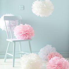 9er Set Seidenpapier PomPoms weiß rosa crème Hochzeit Party Deko Lights4fun http://www.amazon.de/dp/B00MPHTBA6/ref=cm_sw_r_pi_dp_Z4pQvb0JSDPAH