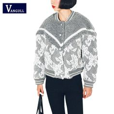 >> Click to Buy << VANGULL Western style wool Coat Women's Lace Stitching flower Long sleeves Casual Slim Short Solid O-Neck Outerwear Top Coats #Affiliate