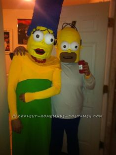 Cool Paper Mache Homer and Marge Couple Costume... This website is the Pinterest of costumes