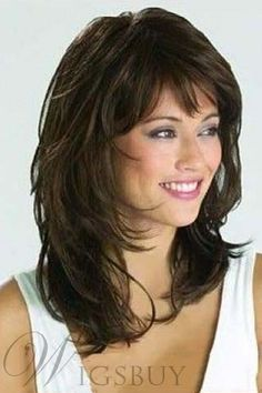 Brunette Balayage for Thick Hair - 50 Cute Long Layered Haircuts with Bangs 2019 - The Trending Hairstyle Easy Updos For Long Hair, Long Thin Hair, Long Layered Hair, Layered Haircuts For Medium Hair Round Face, Hairstyles For Medium Length Hair With Layers, Medium Length Layers, Easy Hair, Face Shape Hairstyles, Haircuts For Fine Hair
