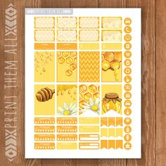 Honey Bee Planner Stickers Printable HAPPY by PrintThemAllStudio Printable Calendars, Printable Planner Stickers, Journal Stickers, Free Printables, Family Planner Calendar, 2017 Word, Happy Planner Kit, Planner Organisation, Planner Sheets