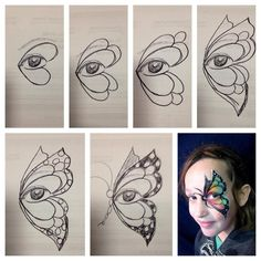 Marcella Murad - hand drawn step by step butterfly wing #stepbystepfacepainting