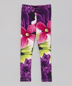 Look what I found on #zulily! Purple Floral Leggings - Toddler & Girls by Paulinie #zulilyfinds