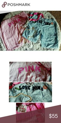 VS PINK BUNDLE Adorable PINK VS line PJ SLEEPWEAR PANTS!!!! Bundle come with the 2 pairs of medium size pants. They are extremely soft and oh so comfy!!  Pink pair has a tiny blue spec on the N on the back of pants. Can hardly even notice. PINK Victoria's Secret Intimates & Sleepwear Pajamas
