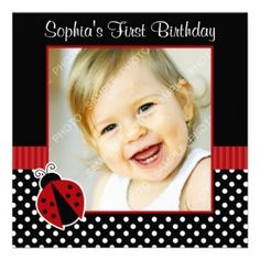Red Black Ladybug Polka Dot 1st Birthday Photo Invitation. Celebrate your little girl's first birthday with this cute ladybug card. Featuring a ladybug on a polka dots background in red,black and white.