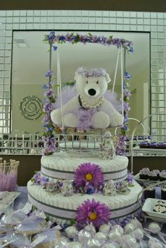 Baby Shower Tea Time Purple and Gray Theme Diaper Cake. Created by Cyd Haltom