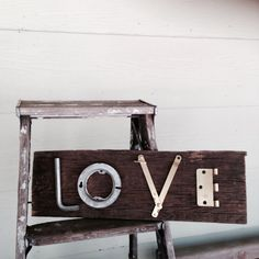 Junk art sign LOVE repurposed/recycled tools on Etsy, $22.00