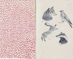 I like the visual texture of the red dots with the animal portraits.  #journal #sketch