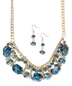 Look at this #zulilyfind! Montana Crystal Layered Bib Necklace & Earrings #zulilyfinds