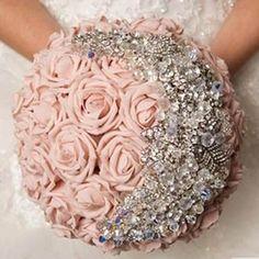bruidsboeket: vintage-bruidsboeket-met-strass-stenen