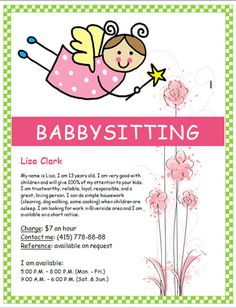Design a babysitting flyer that is professional and creative. Start your summer job right by using our babysitting flyer templates to help you. Babysitting Bag, Babysitting Flyers, Flyer Free, Free Flyer Templates, Baby Siting, Advertising Techniques, Home Daycare, Lisa, Marketing Flyers