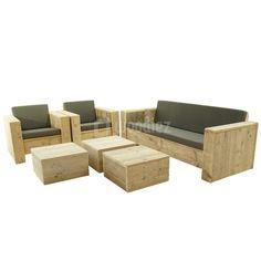Steigerhouten meubels op maat gemaakt kopen   Woodiez Outdoor Sectional, Sectional Sofa, Outdoor Furniture, Outdoor Decor, Fancy, Crafts, Gardens, Home Decor, Modular Couch