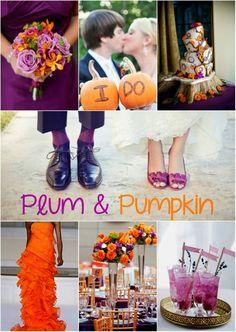 Fall Wedding Color # Plum and Pumpkin wedding color # Orange and Purple wedding…