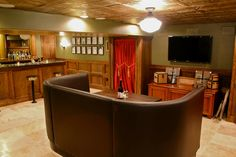 Used restaurant booths can often be found at huge discounts, and are perfect for the Man-Cave...