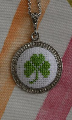 Clover cross stitch necklace gift by ezgidesign on Etsy
