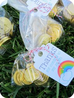 """Cute party favors! """"Gold"""" (chocolate) coins from the pot at the end of the rainbow. ;) homemade by jill: rainbow birthday party!"""
