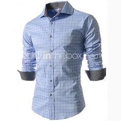 Men s Fashion Plaid Slim Long Sleeved Shirt 2016 -  13.99 Camisas Hombre 1d6cd5732fe