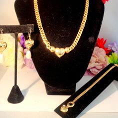Vintage GIVENCHY/Grosse Set.Necklace by Grosse and the Chain Link Bracelet & Earrings by Givenchy. All have Rhinestones 15% off SALE plus FREE SHIPPING TO THE UNITED STATES.