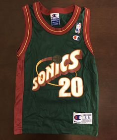 092c13b9bba Rare Champion NBA Seattle Super Sonics Gary Payton Basketball Jersey Youth  S (8)
