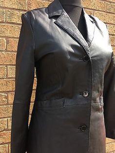 Modern Classic Ladies Black Leather Coat Jacket Size UK 10 EUR 36