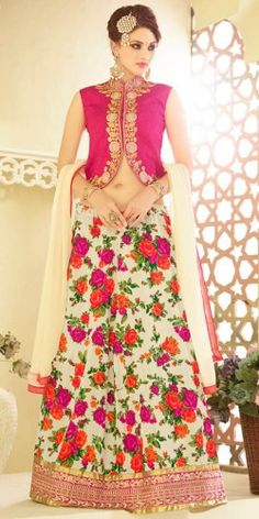 Alluring Pink And Off-White Georgette Lehenga Choli With Dupatta SKU: NC5419 RS.2,799 http://bit.ly/1WJoWK9