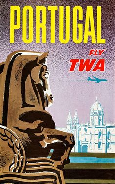 TWA travel poster Portugal - Artist: David Klein