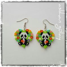 P and A.. Beaded pandas earrings, beaded animals, miyuki