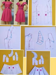 Women Plus Size U-Neck Abstract Blouses Pattern Cutting, Pattern Making, Collar Pattern, Mode Hijab, Pattern Drafting, Dress Sewing Patterns, Sewing Techniques, Sewing For Kids, Pattern Fashion