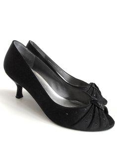 b983fec21115 Stuart Weitzman Black Satin Peep Toe Evening Heels