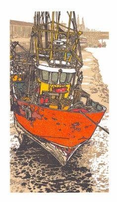 H Jackson RE High and Dry linocut 74 x Art Deco Illustration, Floral Illustrations, Venice Boat, Japanese Water, Collagraph, Pottery Sculpture, Ship Art, Photomontage, Art Boards