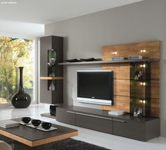 Modern Tv Cabinet, Modern Tv Wall Units, Tv Cabinet Design, Tv Wall Design, Modern Wall, Design Table, Wall Unit Designs, Living Room Tv Unit Designs, Living Room Modern