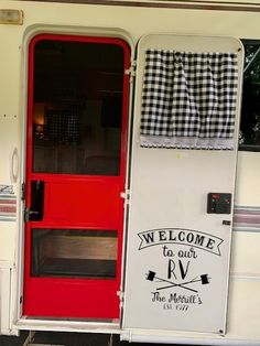 "This custom ""Welcome to our RV"" camper door vinyl decal compliments the red painted screen door on this travel trailer rehab project. Cute-up your popup, motorhome, fifth wheel, retro shasta, vintage Travel Trailer Decor, Travel Trailer Camping, Travel Trailer Remodel, Vintage Travel Trailers, Camping Hacks, Camping List, Camping Guide, Camping Essentials, Rv Travel"