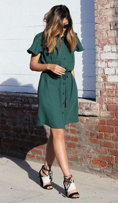 Street style vestido chemise.