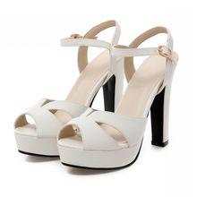 Femmes sandales 2015 Chunky talon plate - forme sandales femmes chaussures à talons hauts été sandales chaussures de mariage dames Beige blanc taille 10 9(China (Mainland))