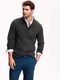 Men's Mock-Neck Marled Sweater