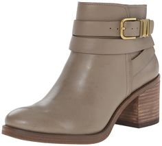 Lucky Women's Raisa Boot, Brindle, 8.5 M US. Leather boot featuring wraparound ankle straps with gold-tone buckle and hardware. Stacked block heel. Inner-side zipper.