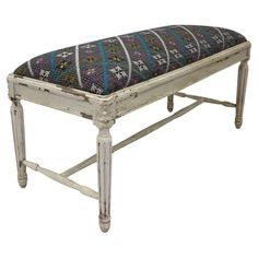 Bring a pop of style to your living room or foyer with this stunning handmade bench, showcasing bold diamond-patterned upholstery from India and a weathered ...