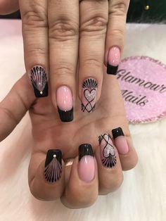 Valentine Nail Art, Valentines, Beauty Nails, Hair Beauty, Black Nails, Nail Art Designs, Manicure, Make Up, Tattoos