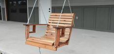 How to Build a Porch Swing - Single Seater Porch Swing - Wilker Do's Wooden Baby Swing, Wooden Swings, Single Swing, Single Chair, Twig Furniture, Repurposed Furniture, Outdoor Furniture, Building A Porch, Swinging Chair